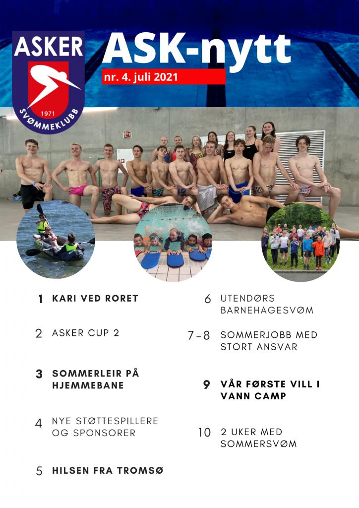 ASK-nytt juli 2021. Asker Svømmeklubb sitt nyhetsbrev. Les om sommersvøm, NM leir.